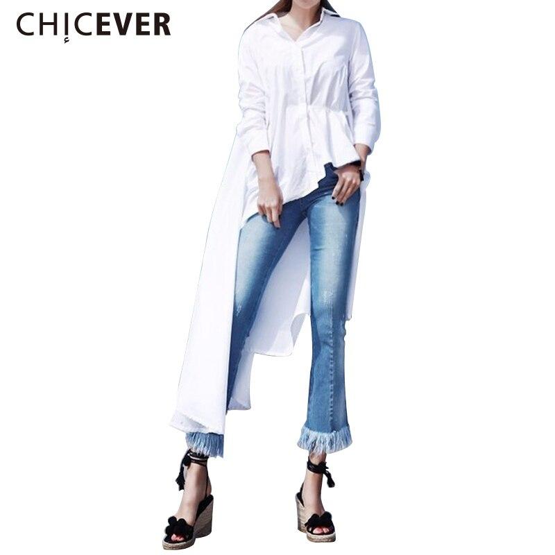 [CHICEVER] 2019 Bahar Elbise Kadınlar Uzun Kollu Düzensiz Elbise - Bayan Giyimi - Fotoğraf 1