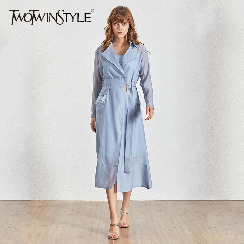 TWOTWINSTYLE Perspective Feather Patchwork Dresses Lapel Collar Female Long Sleeve Bandage High Waist Midi Dress For