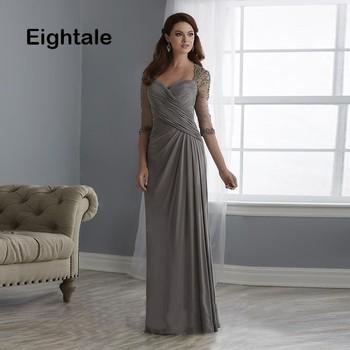 b9430f0b1fc Мать в виде сердца платья для дам складки одежда с длинным рукавом жениха  крестная vestido de