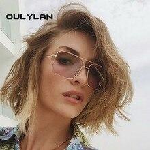 Oulylan Retro Square Sunglasses Women Men Vintage Gradient S