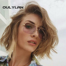Oulylan Retro Square Sunglasses Women Men Vintage Gradient S