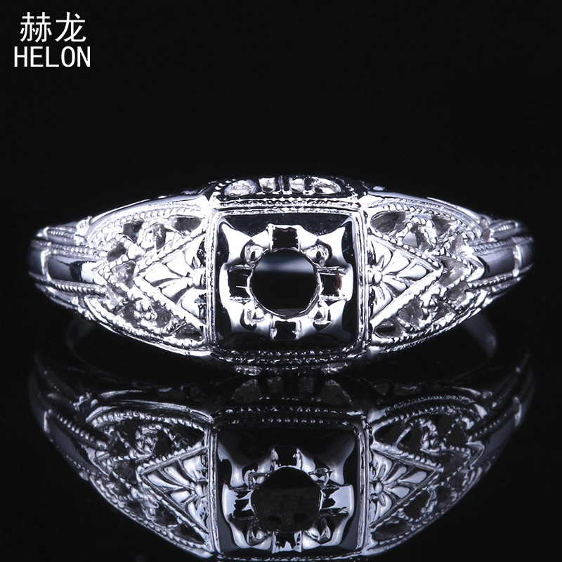 3mm Round Cut Semi mount Solid 10K (417) White Gold Engagement Wedding Women Fine Jewelry Antique Art Deco Party Ring Setting