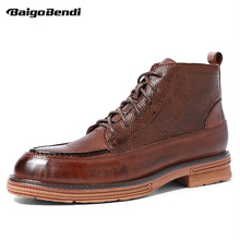 Hight End Boots Men Genuine Leather Lace Up Round Toe Winter Business Man Oxfords