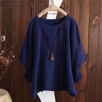 f0062fe1d 2019 ZANZEA verano de las mujeres Blusa de manga murciélago elegante sólido  suelto de lino de algodón camiseta Casual holgados OL trabajo Top Blusas  Plus ...
