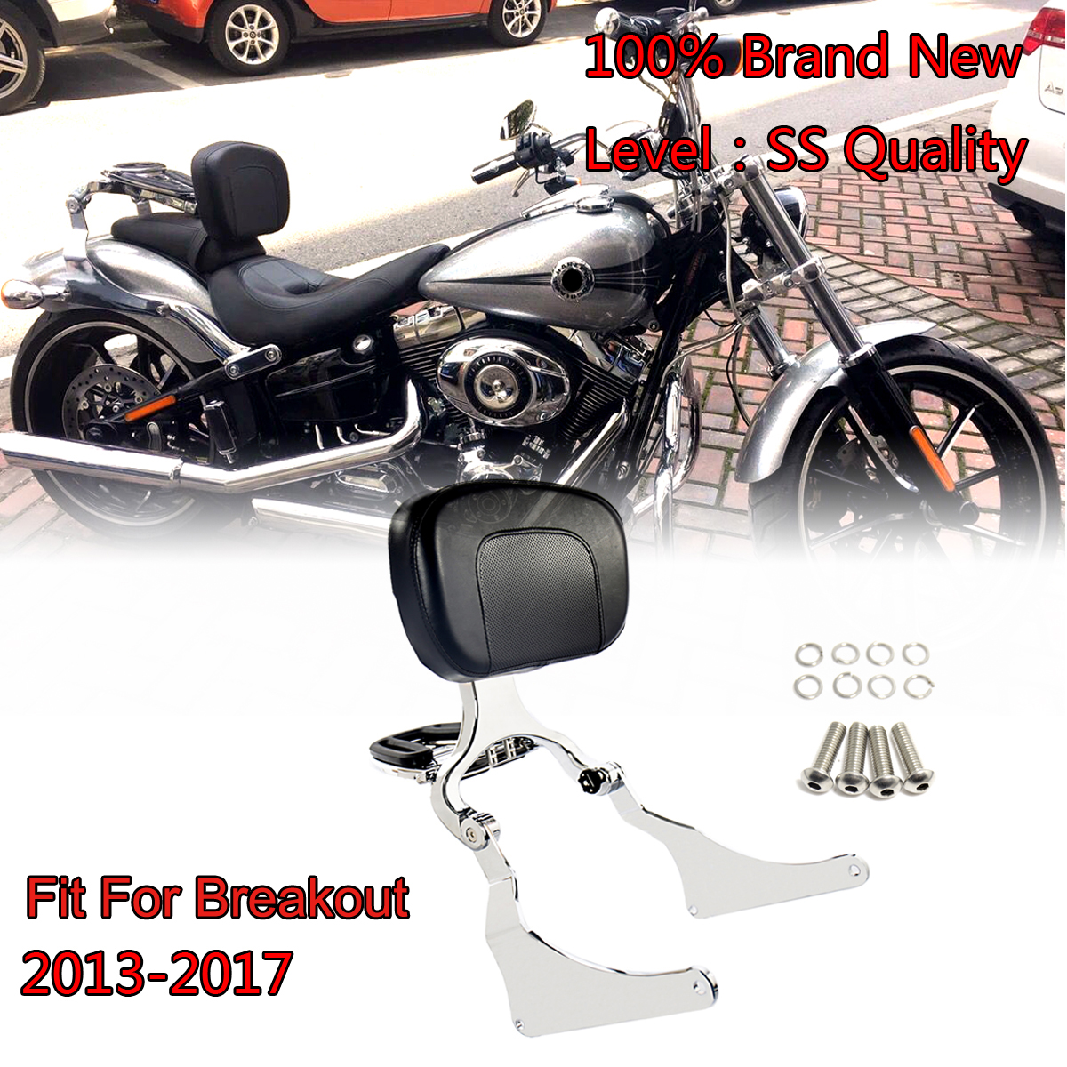 Chrome High Quality Fixed Mount Multi Purpose Adjustable Driver Passenger Backrest For Harley 13 17 Breakout