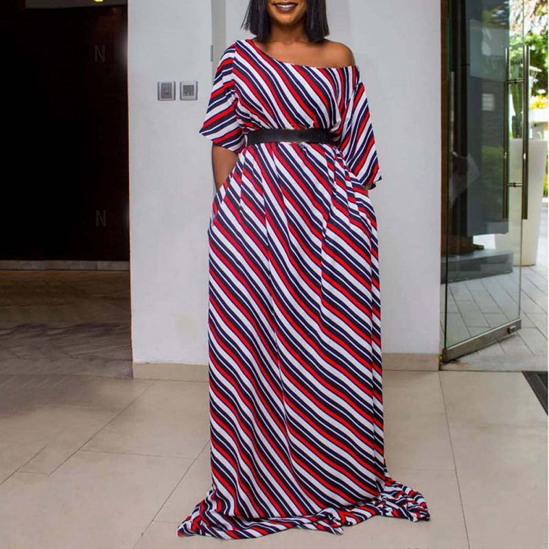 African Ethnic Style Polka Dot Maxi Dress