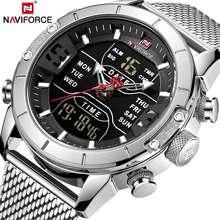 NAVIFORCE reloj Digital analógico para hombre, de acero inoxidable, deportivo, resistente al agua, Masculino, 2020