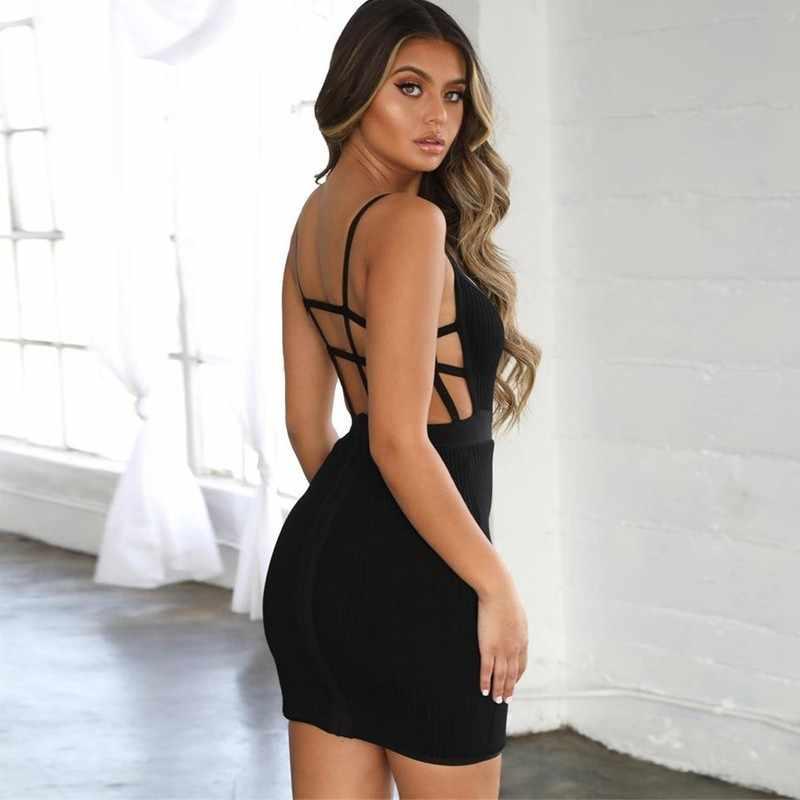 Tobinoone Scava Fuori Backless Sexy del Vestito Da Estate 2019 Lace Up Vestito Dalla Fasciatura Delle Donne Bianco casual Sottile Spiaggia Del Vestito Da Partito Corto