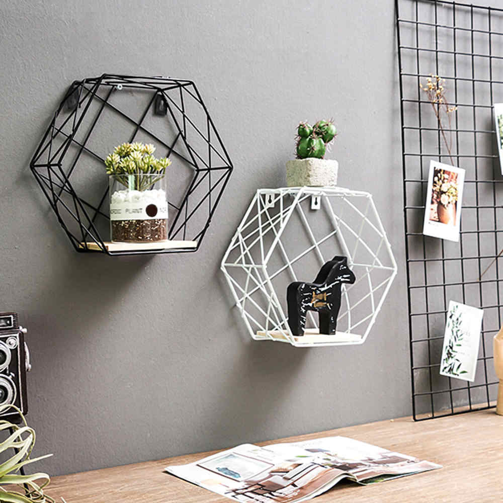 Iron Decorative Shelves Hexagonal Grid Wall Shelf Combination Hanging Geometric Figure Home Decoration Accessories