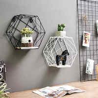 Iron Decorative Shelves Hexagonal Grid Wall Shelf Combination Hanging Geometric Figure Home Decoration Accessories