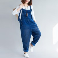 Loose Casual Corduroy Jumpsuits Retro Sleeveless Ripped Jumpsuits Vintage Overalls Strapless Paysuits Female