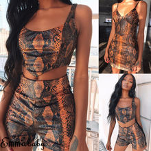 119c4fa7f55 Brand 2 Pieces Set Womens Snakeskin Spring Summer Two Pieces Set Sport Crop  Tops Track Pants