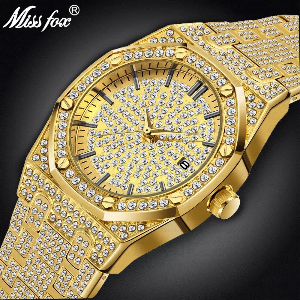 Мужской роскошный бренд часов 18 К позолоченный золотой браслет часы для мужчин 2019 сталь мода большой бренд водостойкие кварцевые наручные