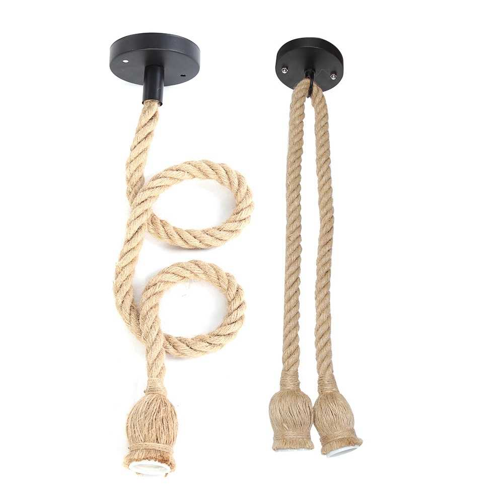 E27 Lamp Base 1m Hemp Rope Cord Electric Wire DIY Pendant Decorative Bulb Holder