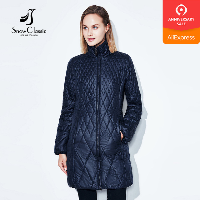 SnowClassic 2018 Spring Fashion Women's Jacket Thin coat Cotton long trench coat Hooded warm breathable