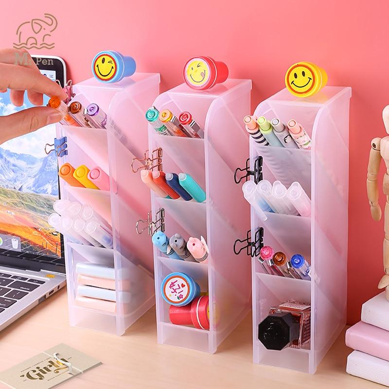 Transparent 4 Grid Desktop Pen Holder Office School Storage Case Clear White Black Plastic Box Desk Pen Pencil Organizer