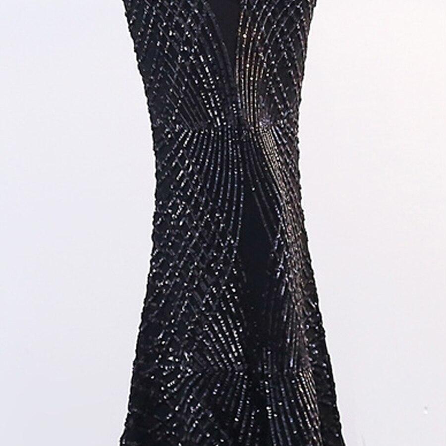 Robe De soirée Longue 2018 O cou sirène paillettes dentelle Longue fête femmes élégante Robe De soirée Simple robes De bal 1587 - 6