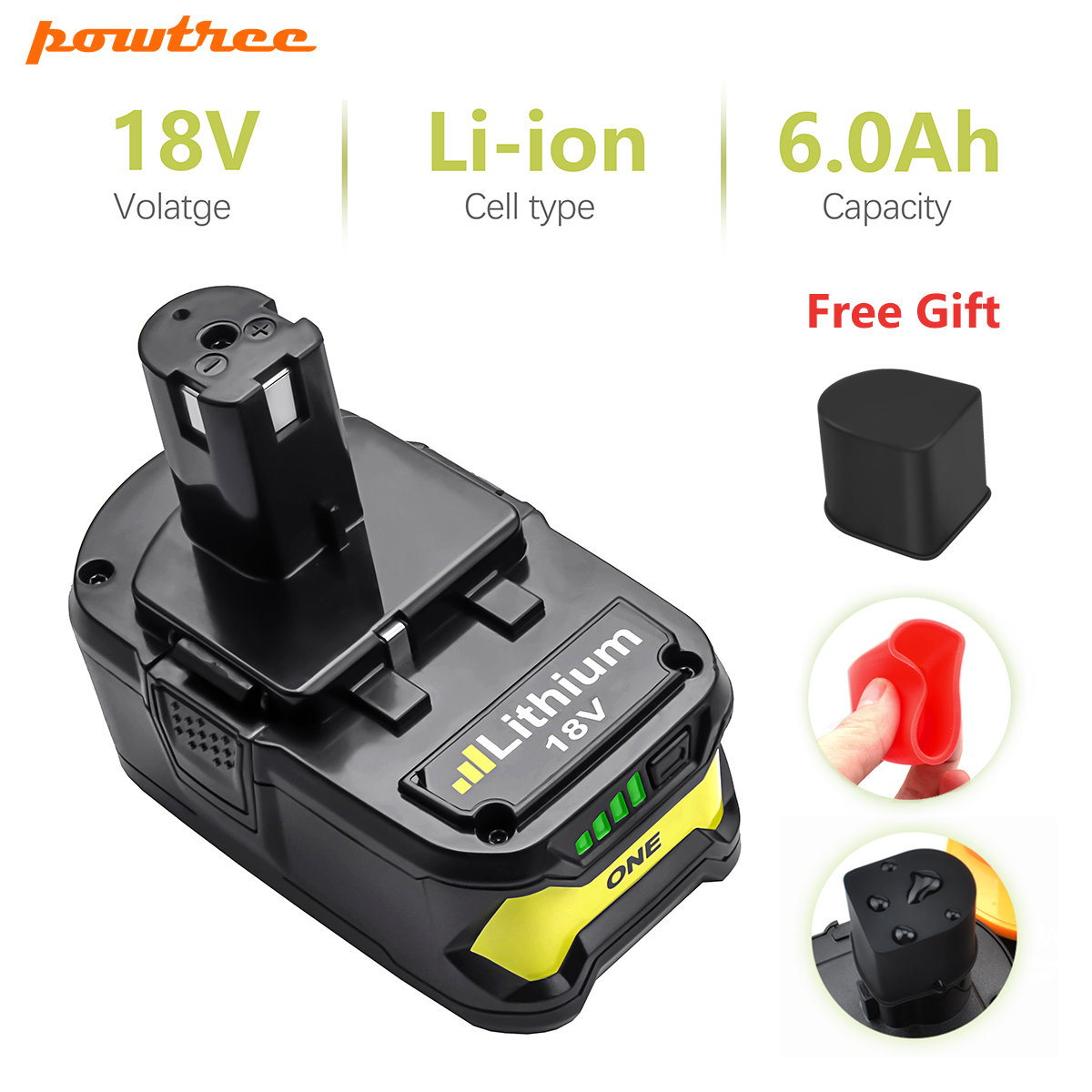 Powtree For Ryobi 6000mAh 18V P108 Li Ion Rechargeable Power tool battery Replacement RB18L40 P107 P104 For ONE+ BIW180
