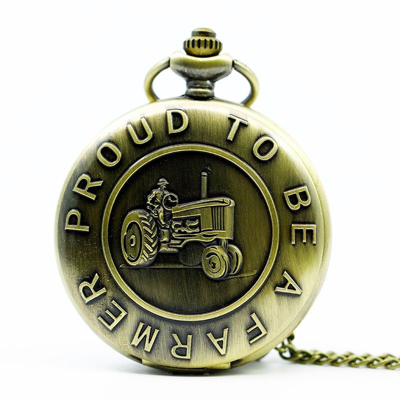 Large Quartz Pocket Watch Classical Design Tractor Pocket Watch Surrounding English Quartz Pocket Watch