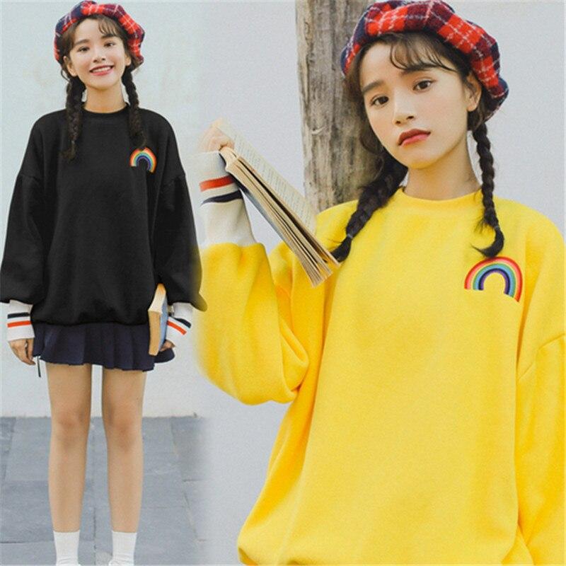 Autumn Korean Ulzzang Womens Warm Kawaii Sweatshirts Rainbow Print Oversized Tracksuits Long Sleeve Harajuku Pullovers Tops