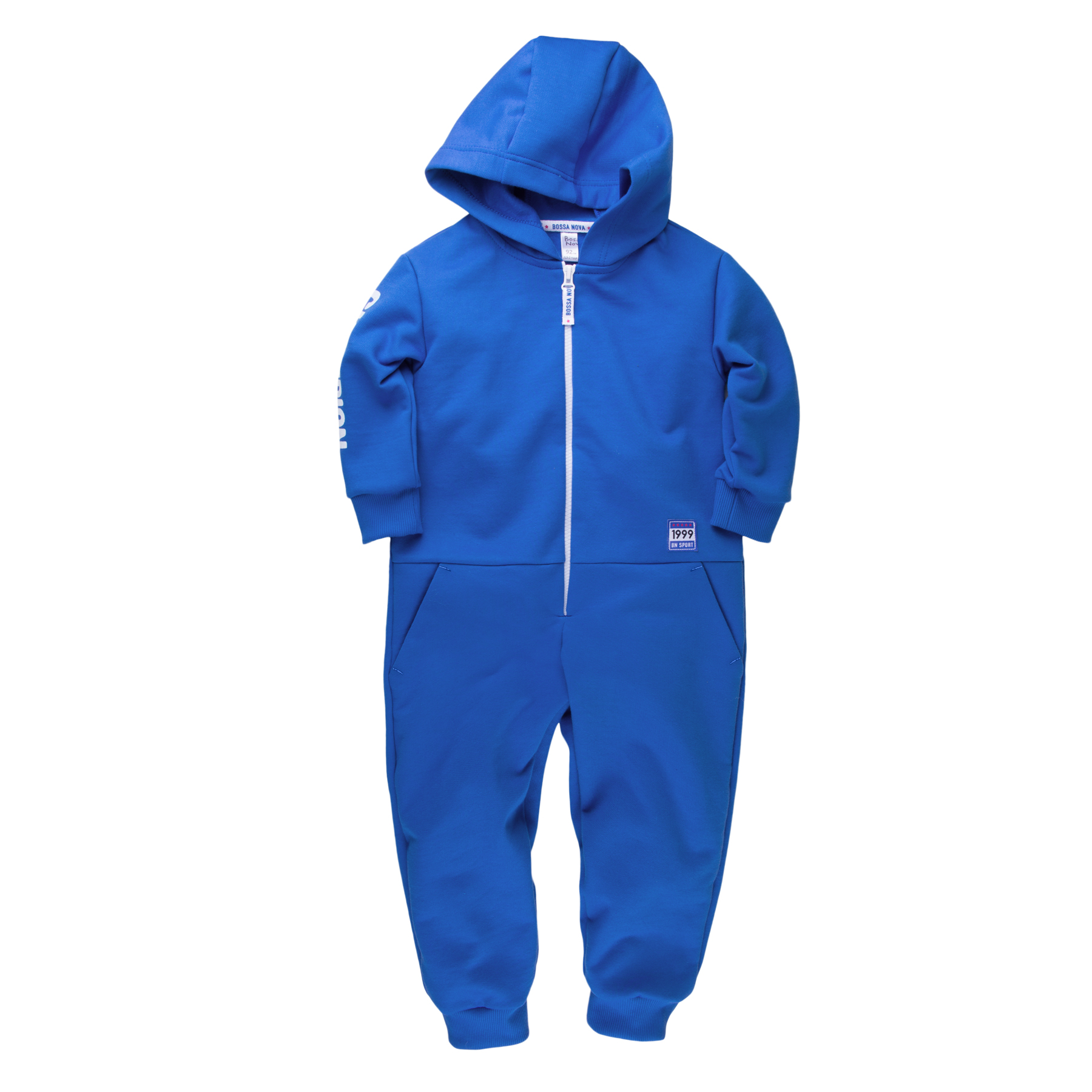 Jumpsuit with hoodie for boy BOSSA NOVA 510b-462e velvet drop shoulder hoodie with pocket