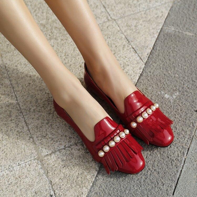 40 Casual Große Frauen Elegante 2019 2 Größe Xianyiduo Patent 218 Ferse Rot Schwarzes rot Schuhe Fringe Frühling Perle Leder Niedrigen Pumpen 42 OanTa