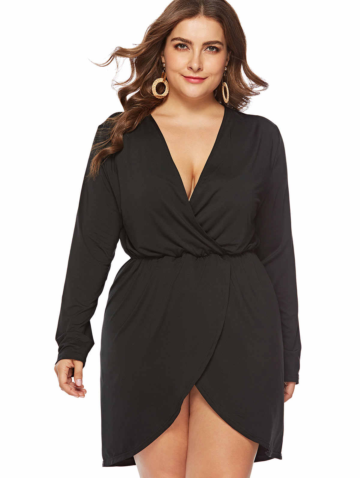 204f586311b Wipalo Plus Size Women Dress Sexy Plunge Neck Long Sleeve Solid Color  High-Low Dresses