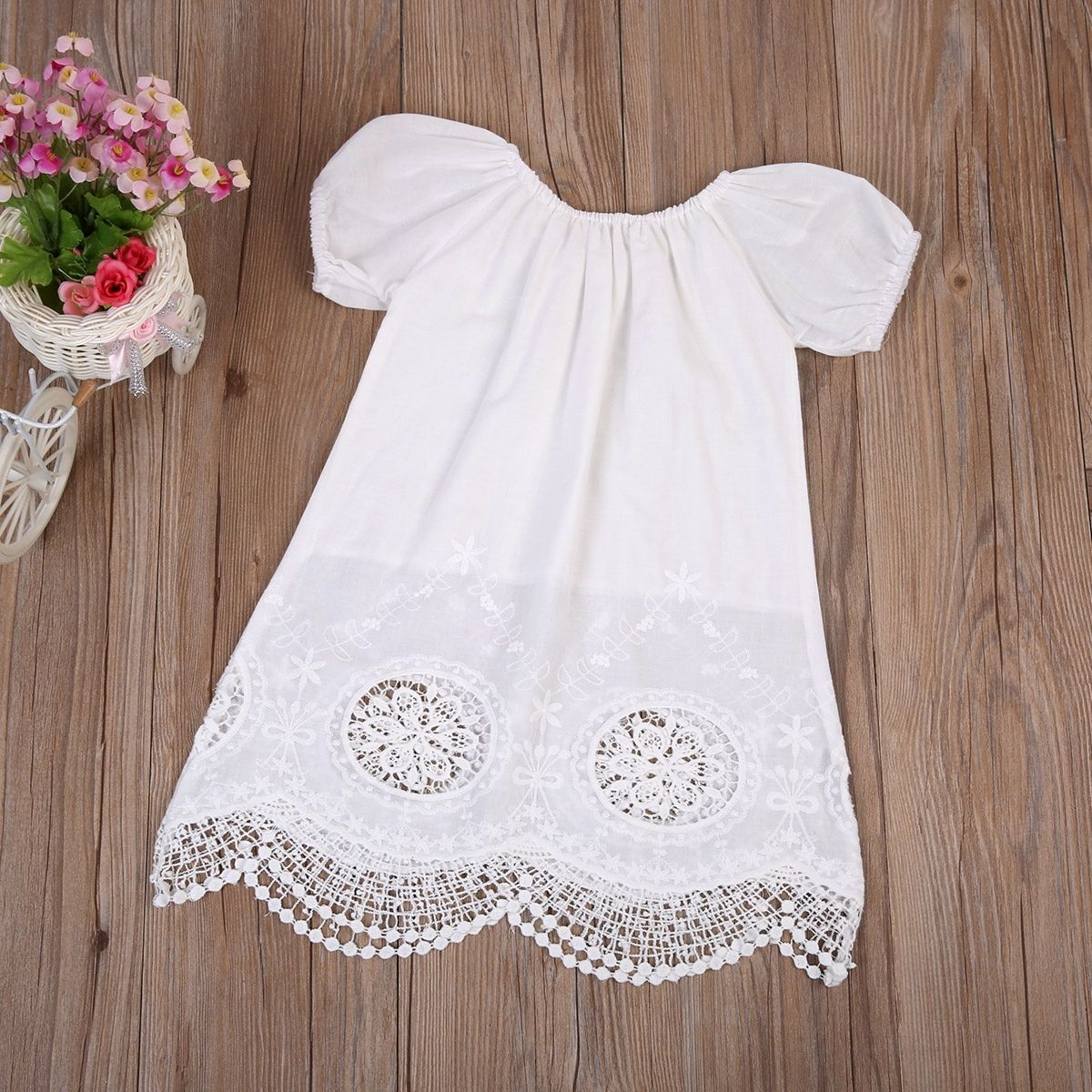 0-4Y White Hallow Out Fashion Kids Baby Girls Short Sleeve Cover Ups Beach Vestidos Cotton Blend Sundress Clothes