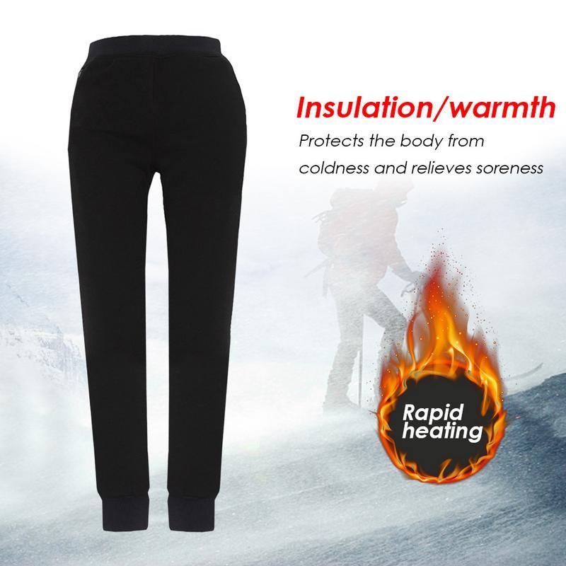 Leggings chauffants USB en Fiber de carbone réglables pour hommes et pantalons chauds en velours