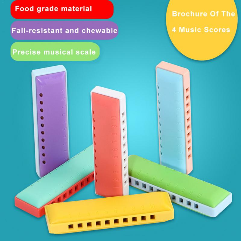 Dual-color 10-hole Plastic Harmonica Mouth Organ Puzzle Instrument Early Education Toy For Children