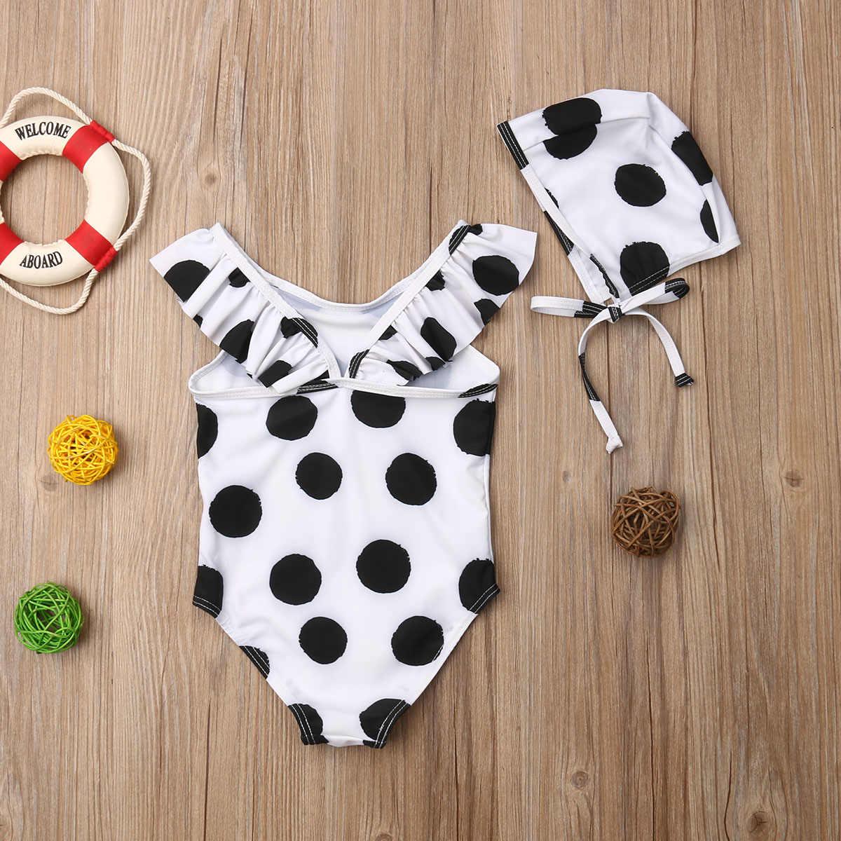 1-6T Bayi Baru Lahir Anak Bayi Anak Perempuan Polka Dot Bikini Baju Renang Swimsuit Beach + Topi