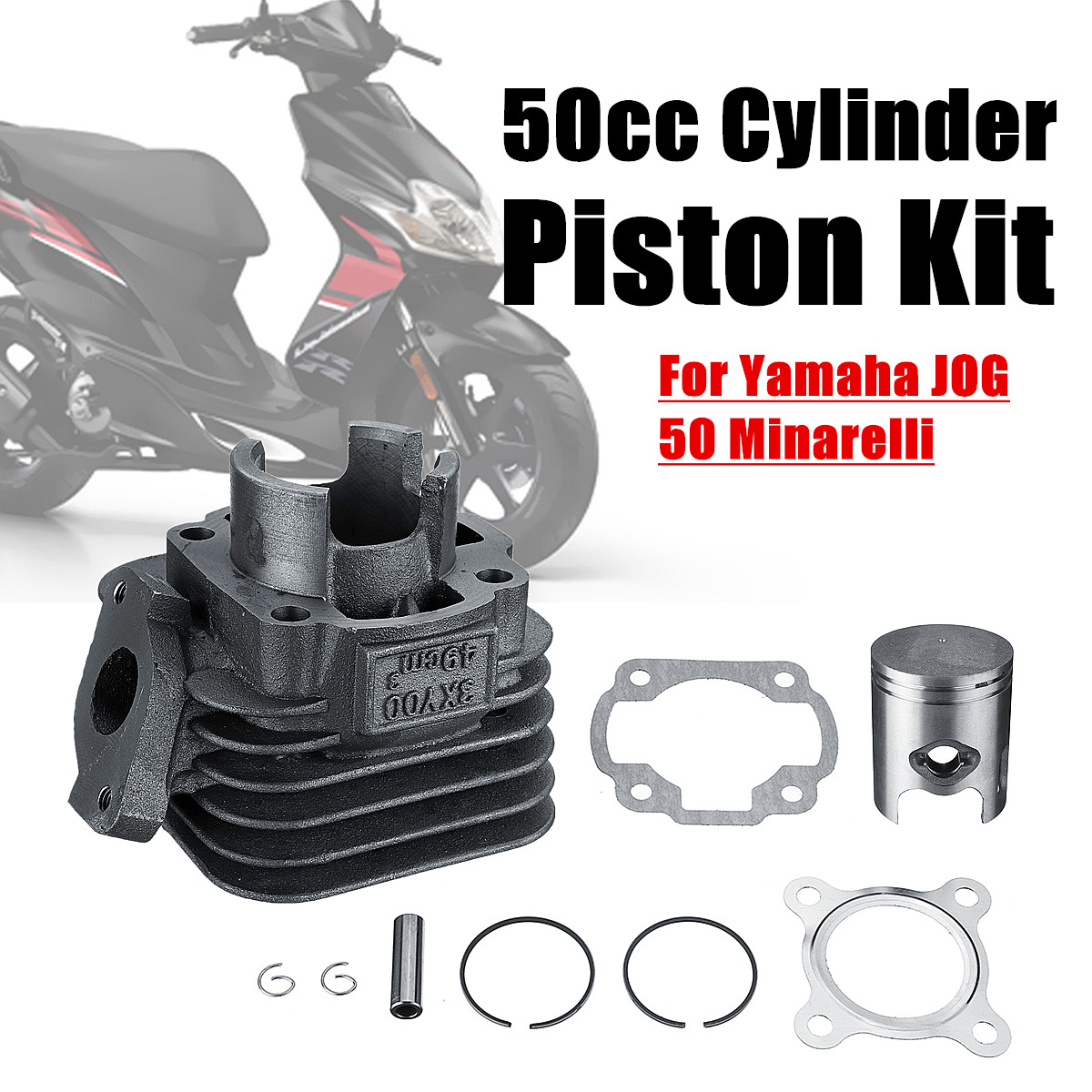 50CC 100mm Culasse Piston Joint Big Bore Kit pour Yamaha JOG 50 Minarelli Avec 2 Joints/2 clips/Axe de Piston/Piston/2 anneaux
