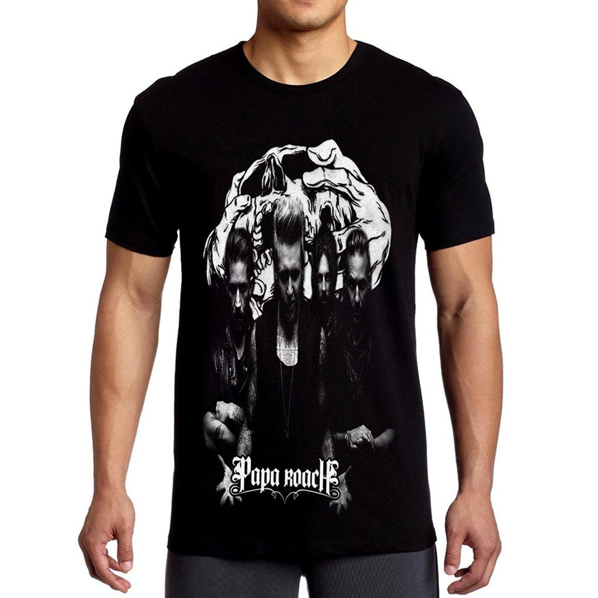 Mazumi8 Papa Roach Skull Metal T Shirt Short Sleeve Cotton T Shirts Man Clothing O Neck Tee Shirt Comfortable Top Tee in T Shirts from Men 39 s Clothing