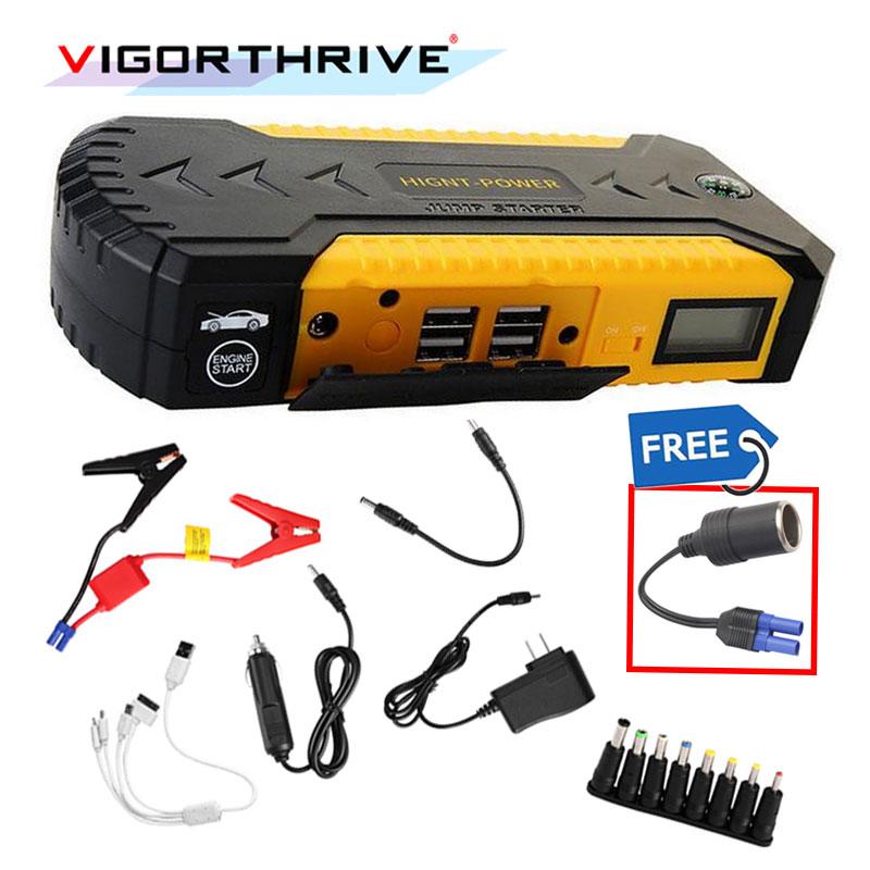 3 LED Light With Power Adapter Car Jump Starter For Petrol Cellphone 4 USB 12V Multi-function Emergency Power Supply Portable