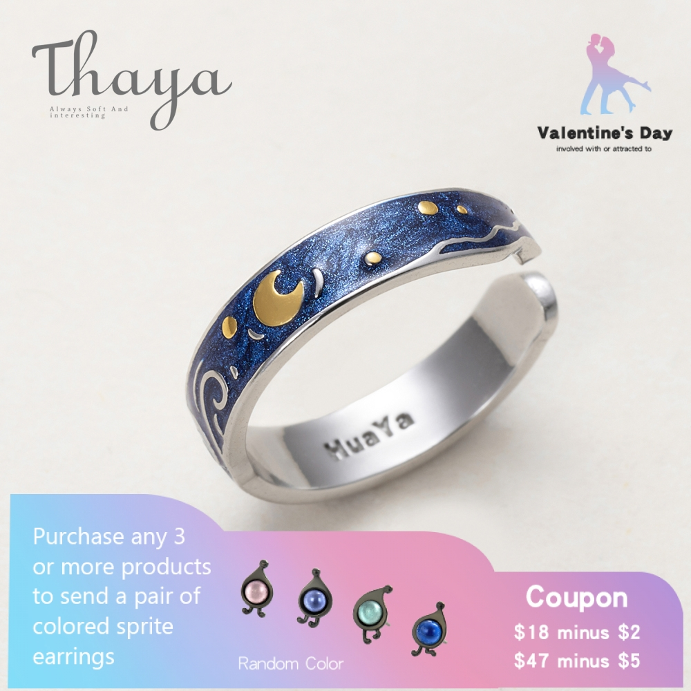 Thaya Real S925 Silver Ring Van Gogh's Glitter Deer Sky Gold Moon Star Finger Ring Bohemian Classic Jewellery For Ladies