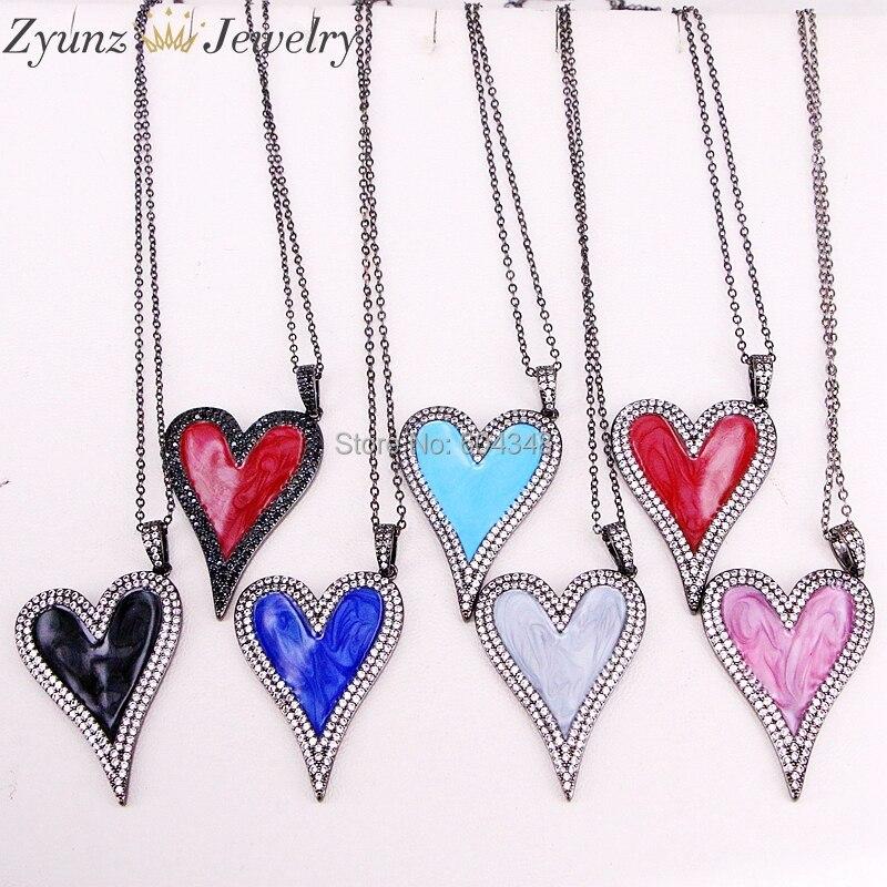 5 Strands ZYZ320 7089 Pave CZ Enamel Heart Pendant Ncklace Designer Enamel Pendant Enamel Heart Pendant