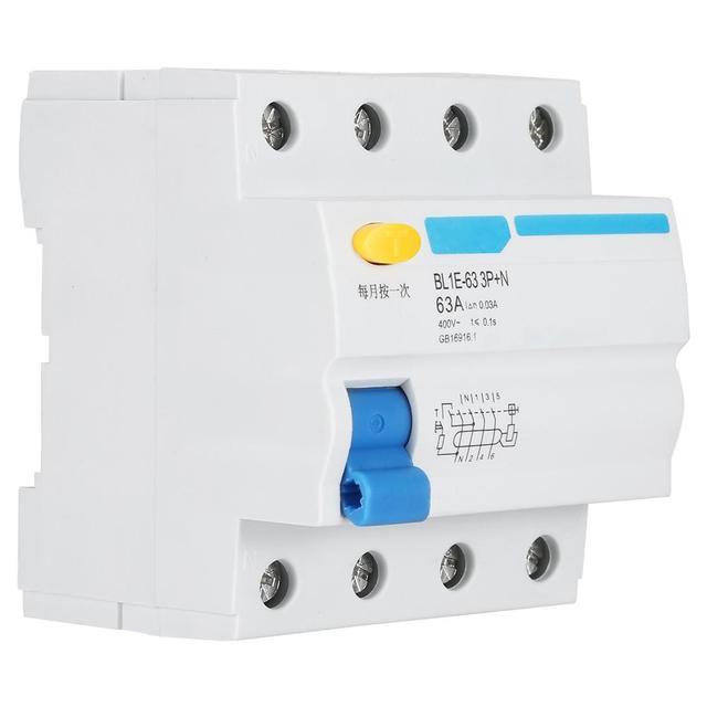 Disjoncteur de courant résiduel, BL1E 63 3P + N 63A RCCB, protection contre les fuites électriques, 230V 30ma