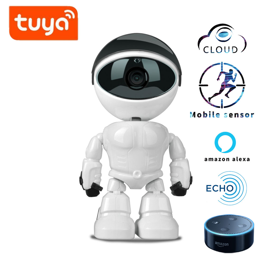 Robot Camera TUYA Alexa Echo 1080P HD Baby Monitor Wifi Two-way Audio Network IP Night Vision Motion Detection SMART Home Shojzj