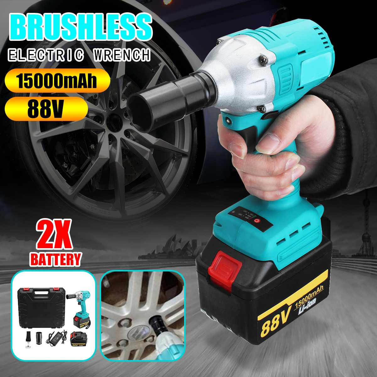 88V Portable Dual Speed Wlectric Electric Wrench Brushless Cordless Wrench 380N.M Home Hand Power Tools Lithium Battery 15000mAh88V Portable Dual Speed Wlectric Electric Wrench Brushless Cordless Wrench 380N.M Home Hand Power Tools Lithium Battery 15000mAh