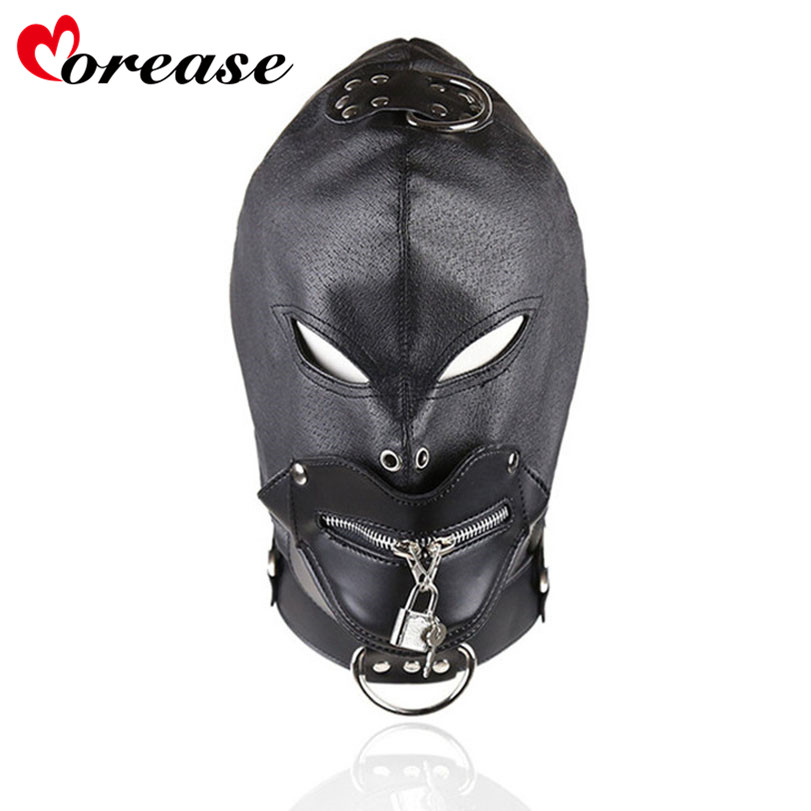 Sm Products Sex Products Morease Masks Hoods Lock Key Role Play Leather Zipper Erotic Adult Game Sex Toy For Couple Women Brinquedos Sexuais Sexo