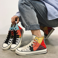 Men's Colorful Platform High Top Sneakers Harajuku Fashion Patchwork Stylish Canvas Flats Shoes
