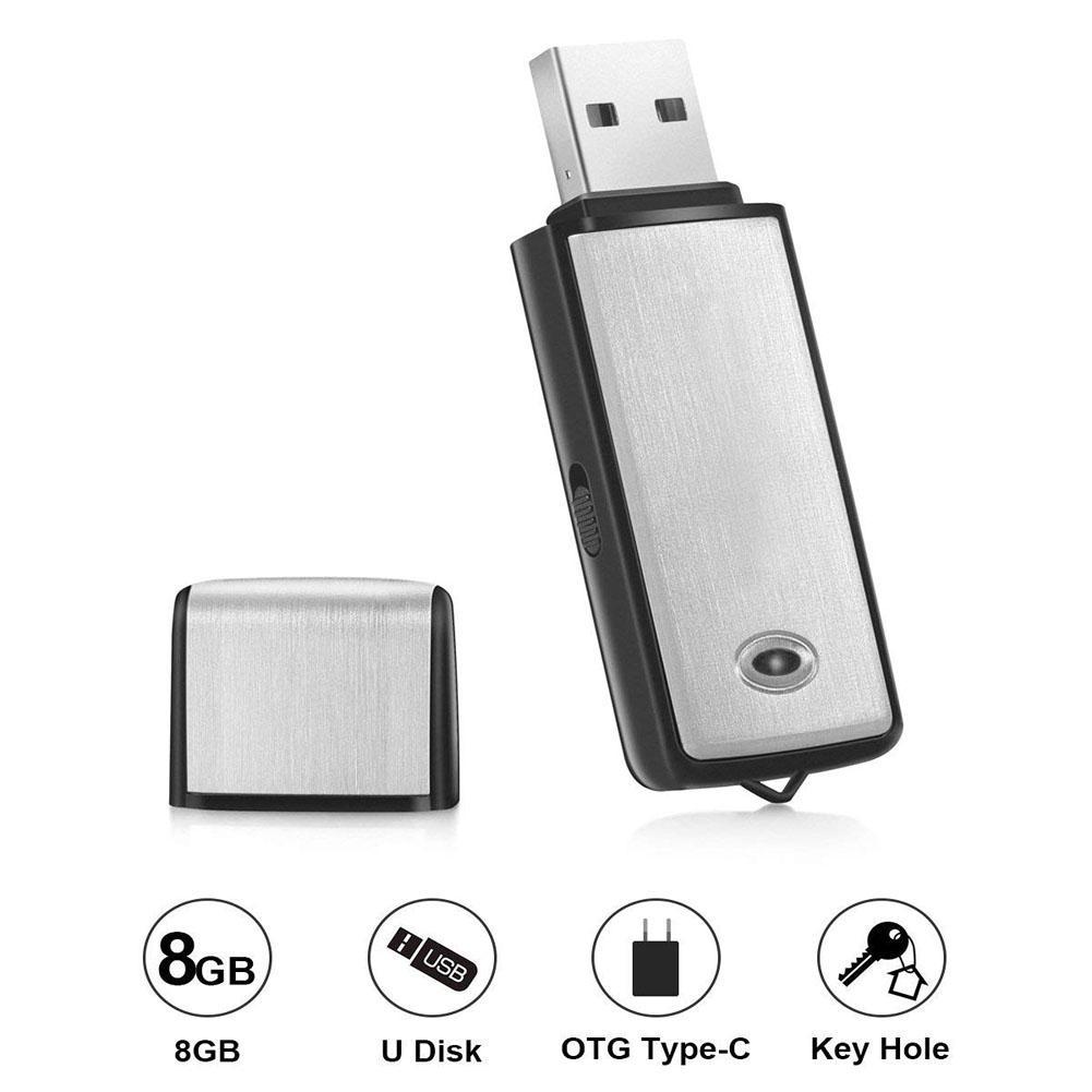 Voice Recorder USB Flash Drive 128Kbps Digital Voice Recording 8GB for Windows Mac Android OTG Mini Recorder r20