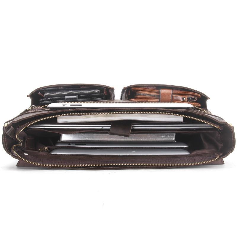 2019 affaires hommes en cuir véritable sac 14 ''ordinateur portable fourre-tout porte-documents pour hommes bandoulière sac à main homme Messenger sac mallca - 4