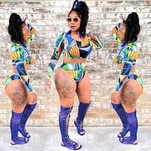 Swimwear Women Tankini Set Color Block Print Crop Top High Waist Bottom Two Piece Swimsuit Graffiti Swimwear Bathing Suit 2019 calico print high waist tankini set