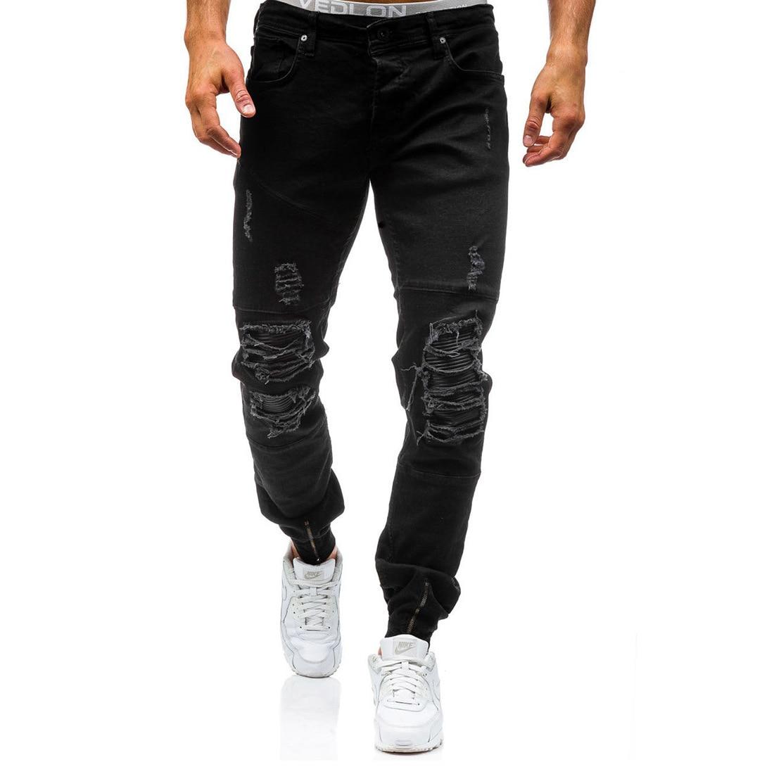 2017 Männer Marke Designer Denim Jenas Männer Klassische Stilvolle Distressed Gerade Bein Jeans Denim Hosen Hosen Hip Hop Biker Mann Sparen Sie 50-70%