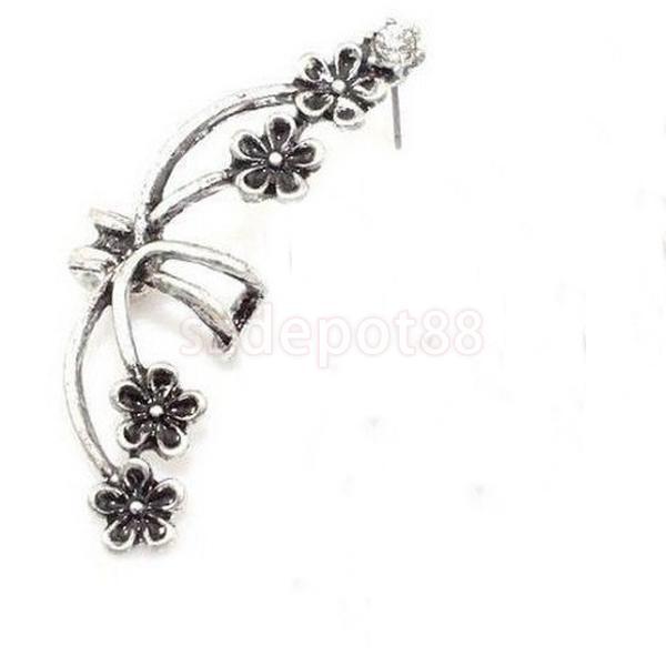 1Pcs Vintage Rock Punk Silver Ear Cuff Clip Clamp Ear Left Ear Earring