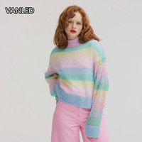 Sweet Casual Marcaroon Colorful Stripes Rainbow Sweater Wool Mohair Women O neck Knitting Sweater