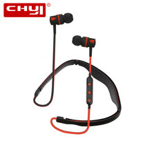 CHYI Neckband Bluetooth Earphone BT4.2 IPX7 Waterproof Sport Headset Foldable Collar Portable Earbud Handsfree Call For PC Phone