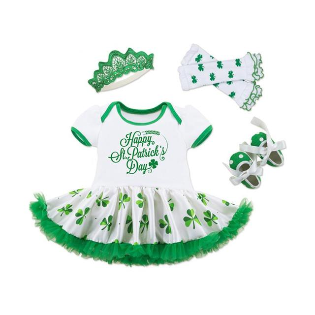 5pcs Baby Toddler Girl Dresses Sets St. Patrick'S Day Outfit Shamrocks Green Party Decor Costume Dress Set