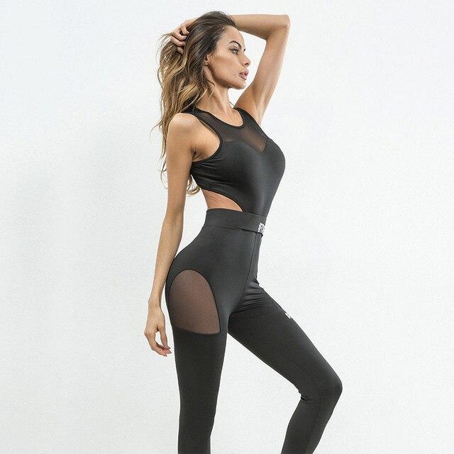 f81b2300a 2018 Macacão Mulheres De Fitness Preto Sportswear Mulher Conjunto de Roupas  de Malha Costura Yoga Gym